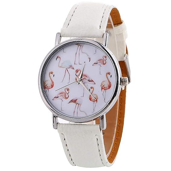 Reloj de Mujer, diseño de Flamenco, Reloj de Pulsera para Mujer, Estilo Casual, de Piel, Cuarzo, para Mujer, para Chica: Amazon.es: Relojes