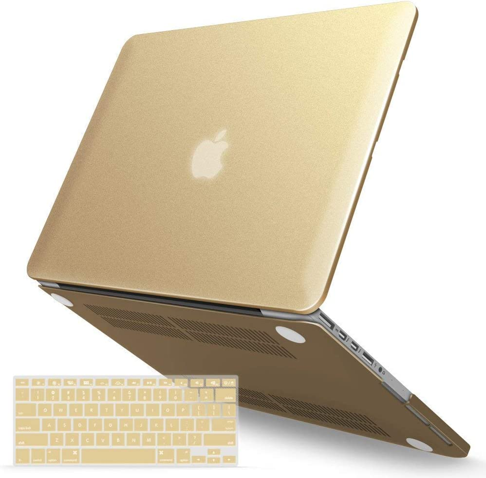 IBENZER MacBook Pro 13 Inch Case 2015 2014 2013 end 2012 A1502 A1425, Hard Shell Case with Keyboard Cover for Old Version Apple Mac Pro Retina 13, Gold, R13BGD+1A