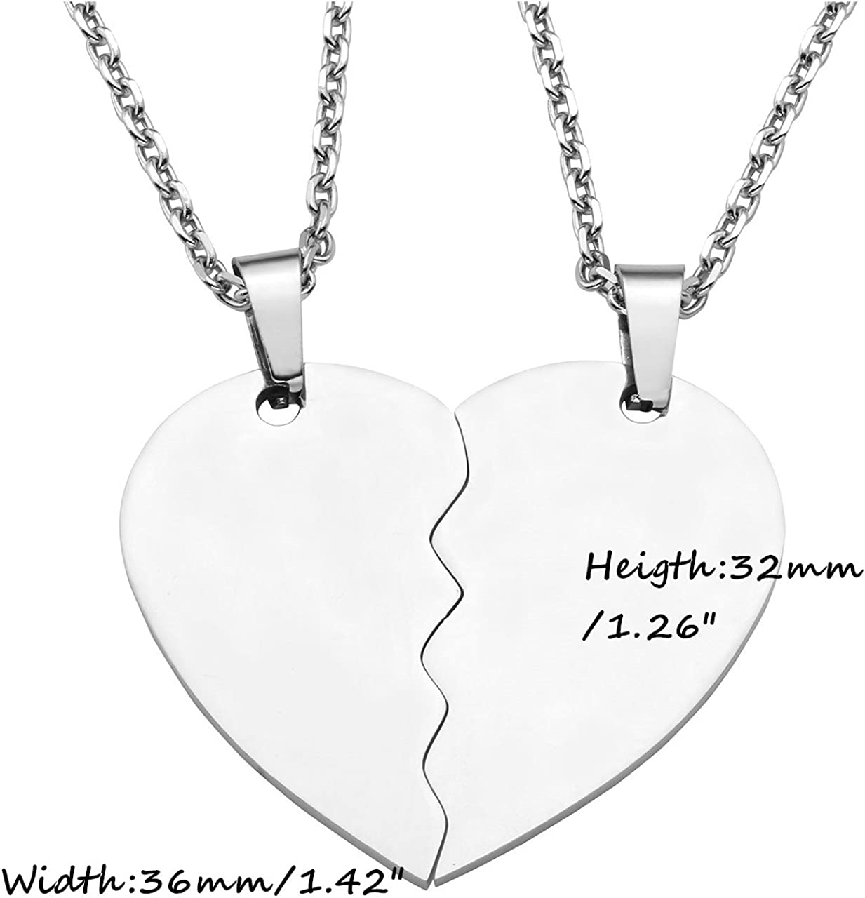 PiercingJ Lot de 2/colliers assortis personnalisables en acier inoxydable Pendentifs c/œur /à assembler Cha/îne de 61/cm