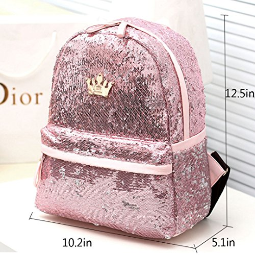 Satchel Women Rucksack Travel Student Fashion MEGA Girls Backpack School Bag Pink Paillette Sequins Sparkling Pxq6w7Ud