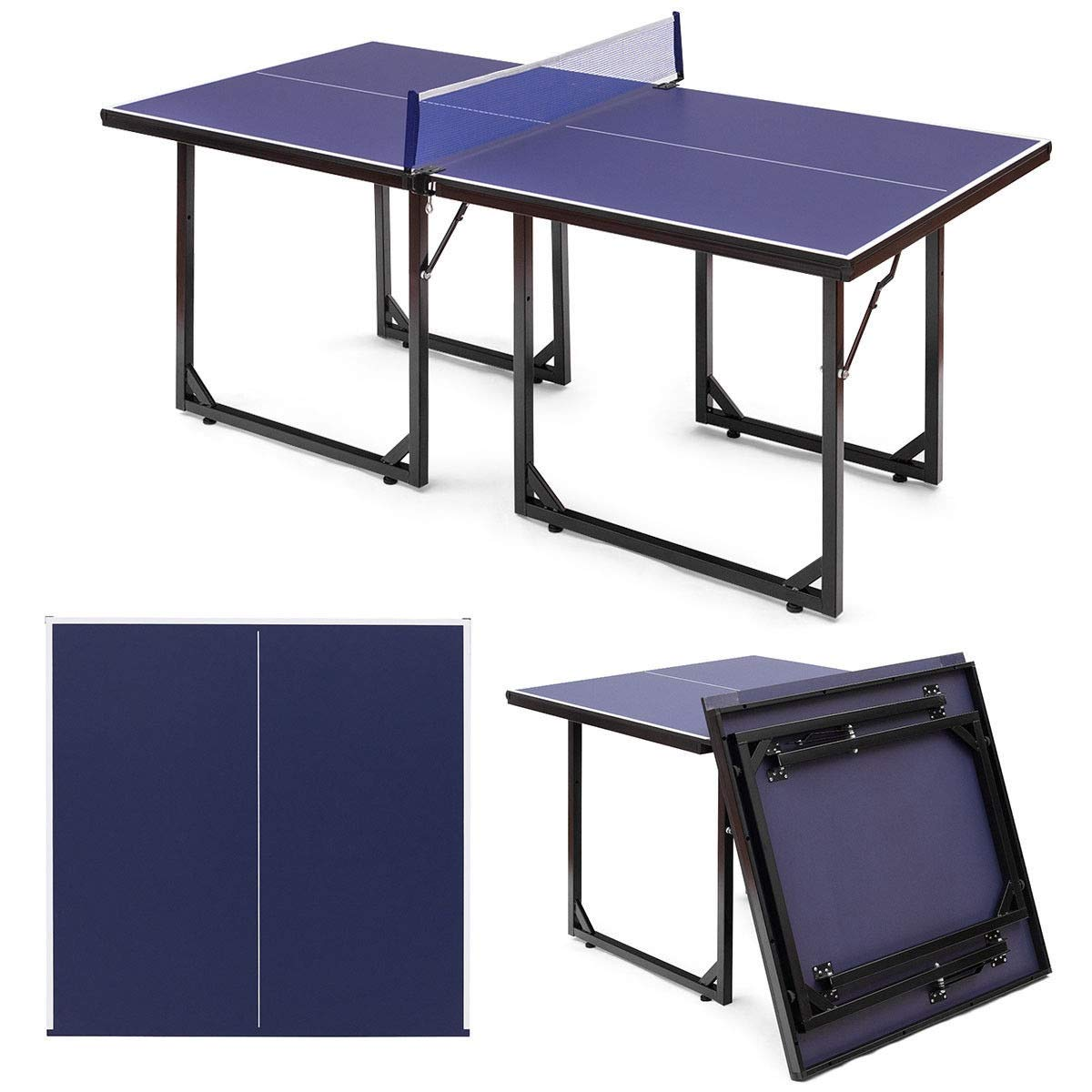 Multi-Use Foldable Midsize Removable Compact Ping-pong Table by AchieveUSA