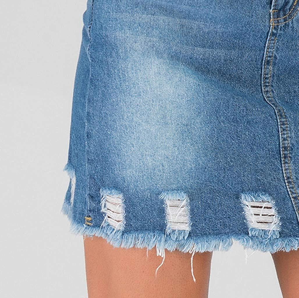 Thenxin Hole Denim Mini Skirt for Women Casual Daily Denim Button Zipper Dress for Work