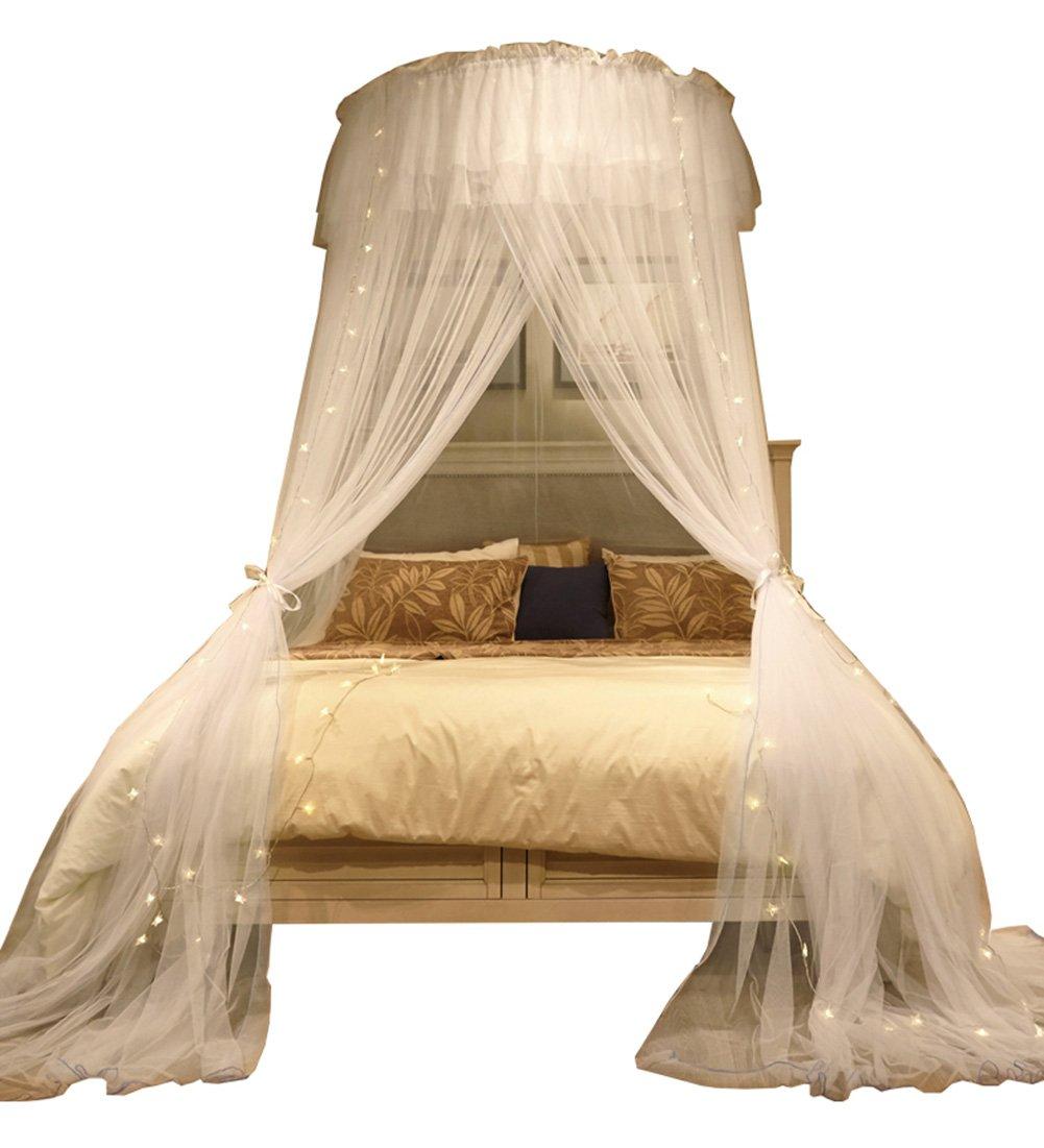 LIQICAI Luxus Moskitonetz für Einzel- bis KingGröße-Betten Keine zusätzlichen Chemikalien, Mehrfarbig Optional (Farbe : Weiß)