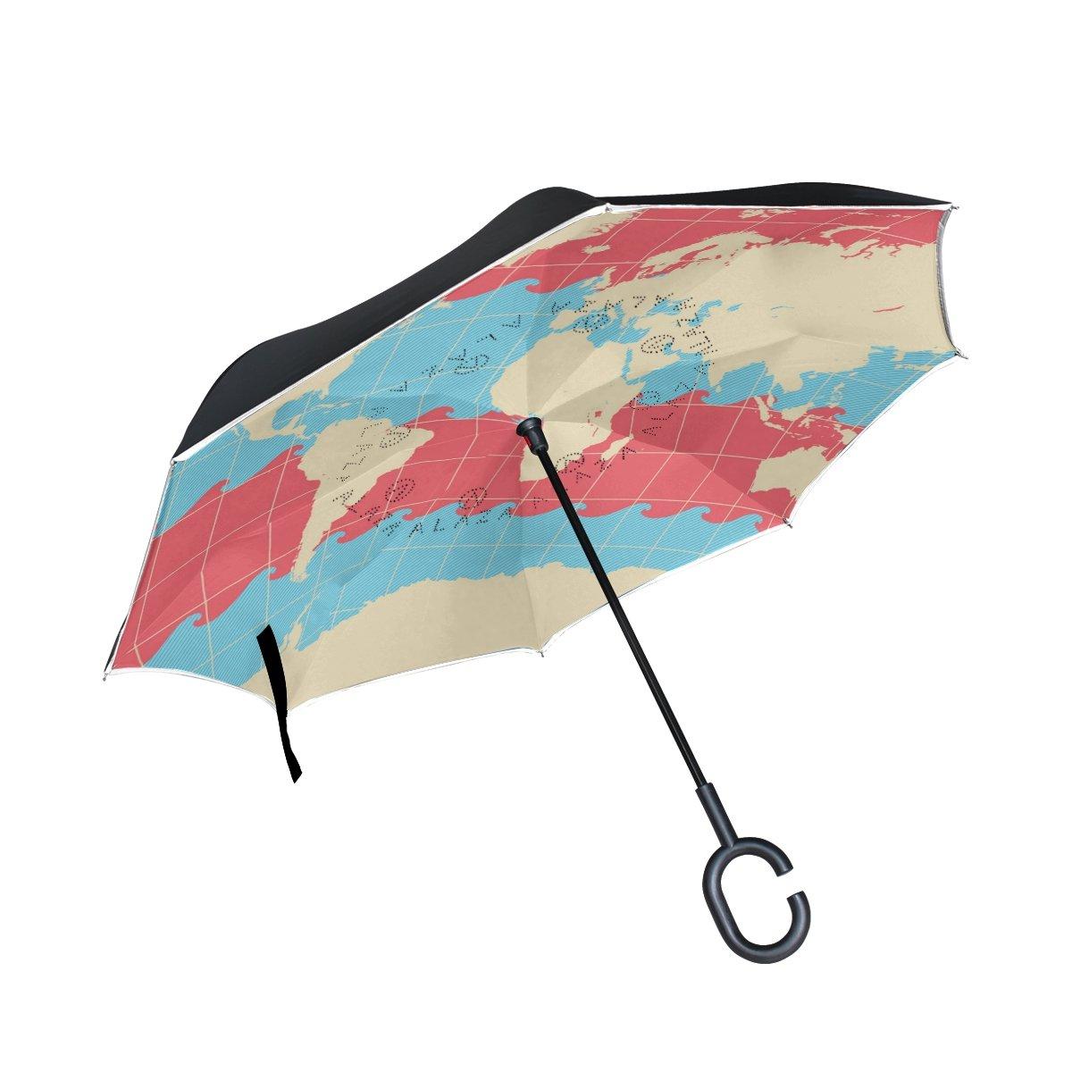 aideess Waveワールドマップパターン印刷車逆傘アウトドア、防風、UVプルーフReverse折り畳み傘C型の手フリーハンドル   B075R7967B