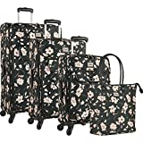 Chaps 4 Piece Luggage Suitcase Spinner and Tote Set, Pink Floral