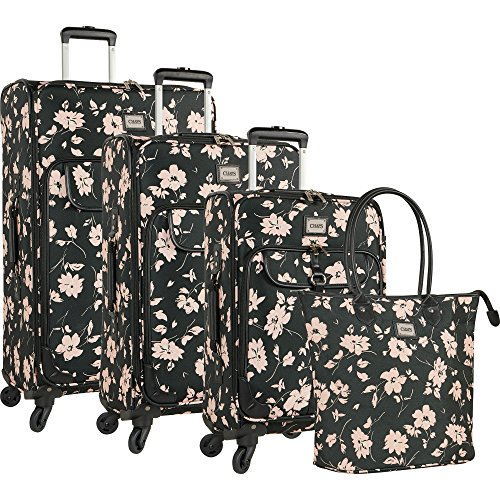 Chaps 4 Piece Luggage Suitcase Spinner and Tote Set, Pink Floral by Chaps