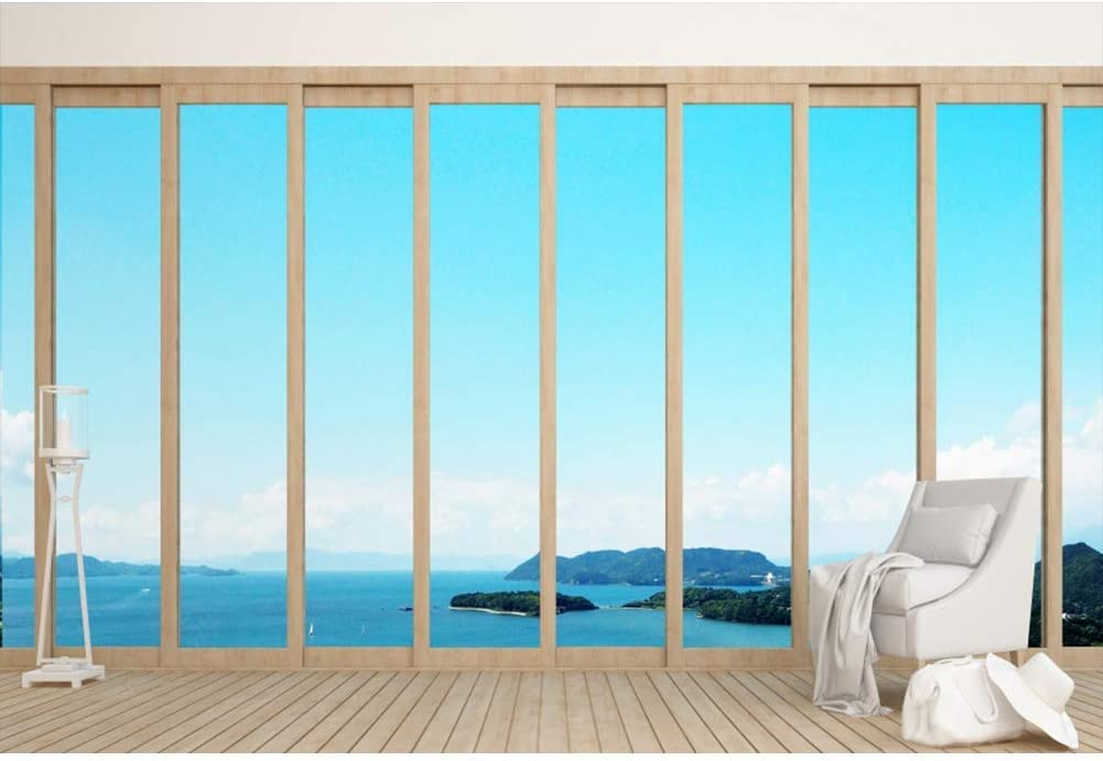 Vinyl 12x8ft French Sash Window Sea View Backdrop Summer Holiday Seaside Resort Hotel Hall Backgroud Tropical Island Leisure Vacation Children Adult Photo Studio Props