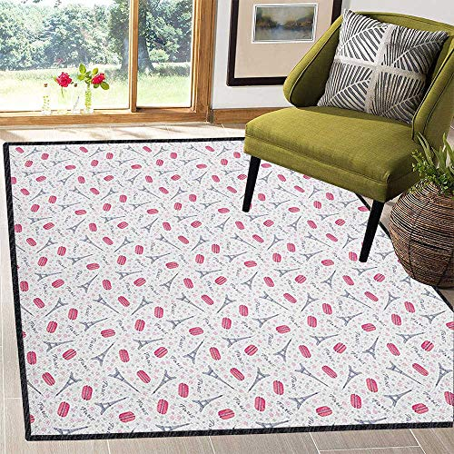 Eiffel Graceful Area Rug,Famous Traditional French Food Tasty Macaroons Delicious Retro Deserts Dots Chic Geometric Design Pink Grey White 59