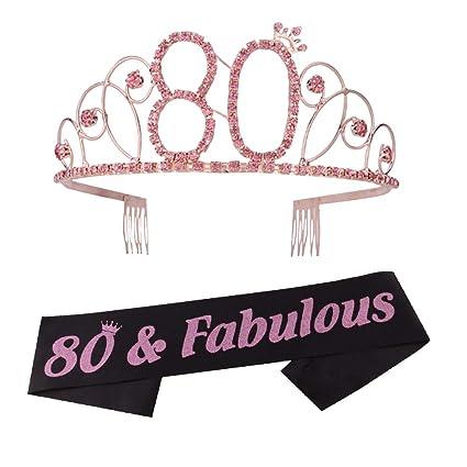Amazon.com: Tiara y faja de 80 cumpleaños con corona y faja ...