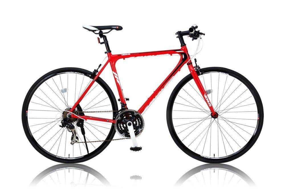 【多機能ウィンカーチェーンロック高感度5連LEDライトSET】CANOVER(カノーバー) 700×25C アルミフレーム クロスバイク シマノ21段変速 ディープリム CAC-021 VENUS レッド B014P28YOC