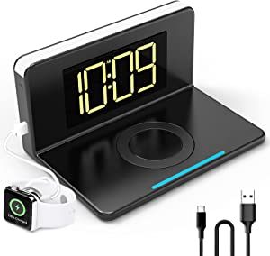 Wireless Charger with Digital Alarm Clock,10W Qi Certified,USB Outport for Phone Charging,Dimmable Time Display & Night Light,Snooze,Charging Pad Stand for Bedroom Bedside Office-Black(NO Adapater)