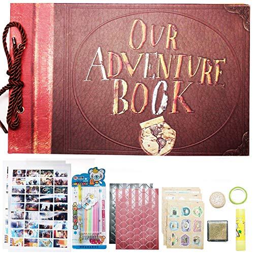YJSBIZ Engraved Our Adventure Book,Hand Made Retro Photo Album,DIY Scrapbook,Wedding Photo Album,Guest Book,Baby Photo Album,with Bonus Gift Box and Abundant DIY Accessories