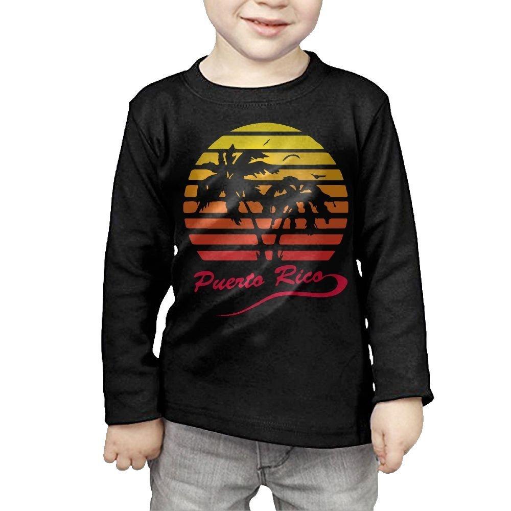Baby Girls Little Boys Puerto Rico 80s Tropical Sunset ComfortSoft Long Sleeve Tee