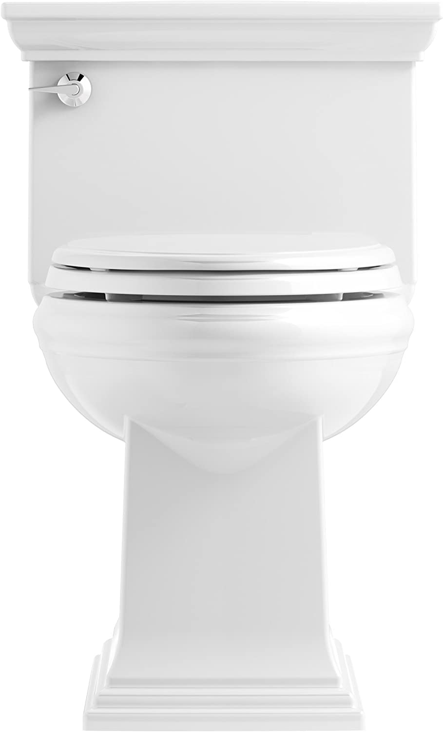 Almond KOHLER K-6428-47 Memoirs Stately Comfort Height Skirted One-Piece Compact Elongated 1.28 GPF Toilet with AquaPiston Flush Technology and Left-Hand Trip Lever