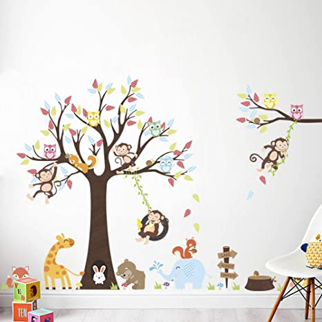 LiveGallery Cartoon Animals Wall Decals Removable Tree Wall Stickers DIY  Owls Wall Art Cute Monkey Elephant Giraffe Wall Decal for Kids Boys  Children ...