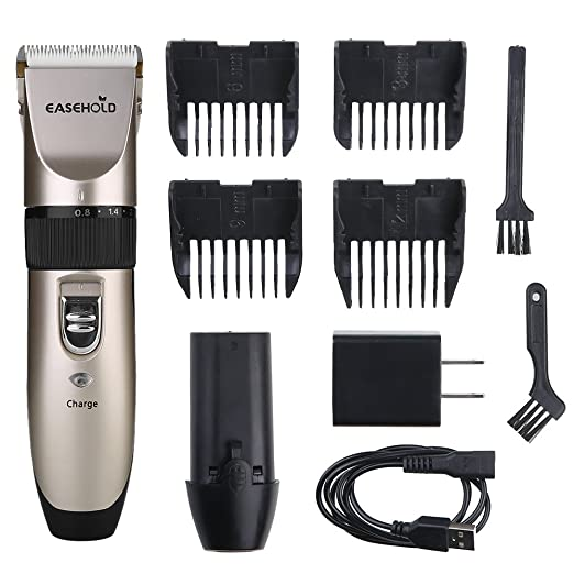 Easehold Electric Hair Clippers, Dog Grooming Clippers with Stainless Steel Blades for Pets,Rechargeable and Replaceable Batteries Professional Portable Low Noise Hair Clipper Set(Gold+Black)