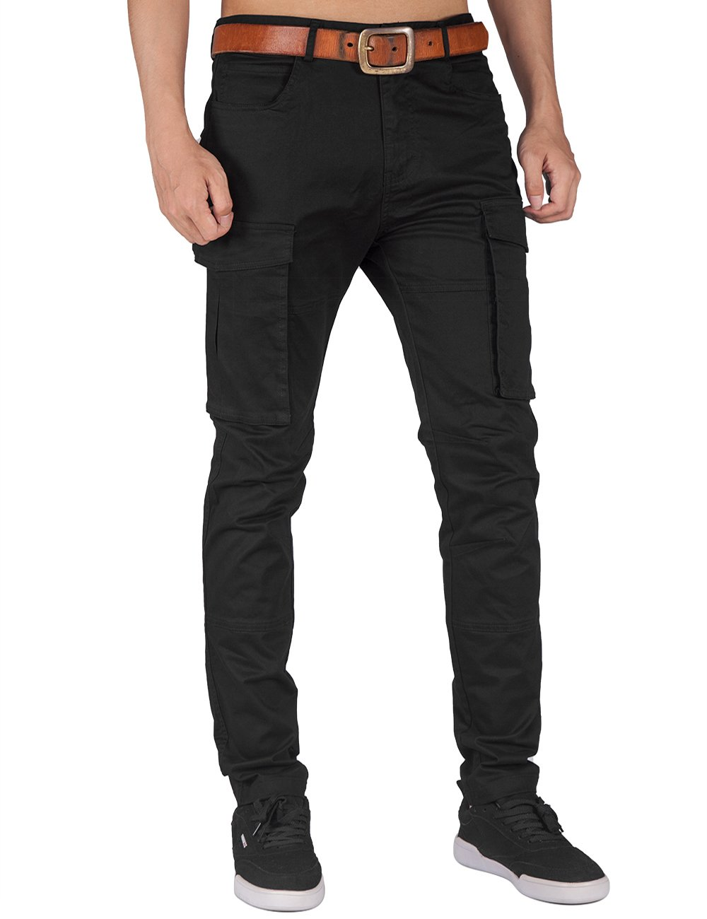 ITALY MORN Men Chino Cargo Jogger Pants Casual Twill Khakis Slim fit Black (S, Black) by ITALY MORN (Image #2)
