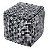 BrandWave Cotton Cover Square Pouf Ottomon / Seat - Black and White Diamond Pattern - Soft Yet Sturdy Design - 18x18x18