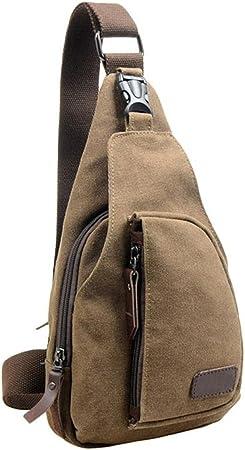 Men Love Bags,Pocciol Mens Casual Canvas Unbalance Backpack Crossbody Chest Waist Packs Shoulder Bags Khaki