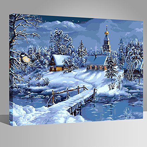 (LIUDAO DIY Oil Painting Snow Scenery Paint by Number Kit for Beginner 16x20 Inch (Wooden Frame))