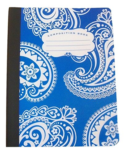 "Carolina Pad Studio C Wide Ruled Composition Book with Poly Overlay Covers ~ Driving Ms. Paisley (Blue with Decorative Swirls; 7.5"" x 9.75""; 70 Sheets, 140 Pages)"
