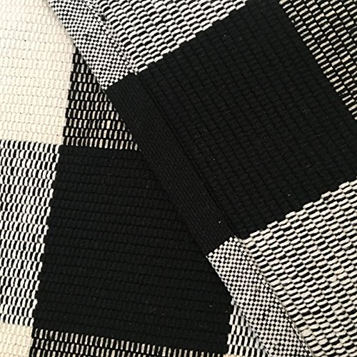 Ustide 100% Cotton Washable Rugs Black And White Plaid Rug