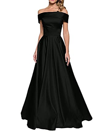 bcd191e5fc24 Women Long Off Shoulder Satin Ballgown Prom Dress Bridesmaid Dresses with  Pocket Black Size 2