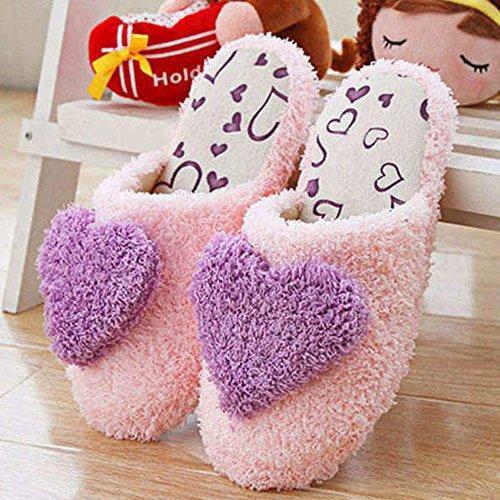 HuaYang 3D Forme de cœur d'amour antidérapant sandales en peluche poue le voyage(Taille: 40-41 , Pourpre)