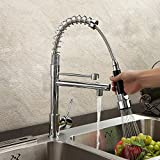 BATHWA Rotatable Kitchen Faucet Ceramic Valve Deck Mount Chrome Finish Solid Brass with Pull Out Spray Two Spouts 360 Swivel One Handle Kitchen Sink Mixer Taps Single Hole Tall Curve Spout Bar Faucets