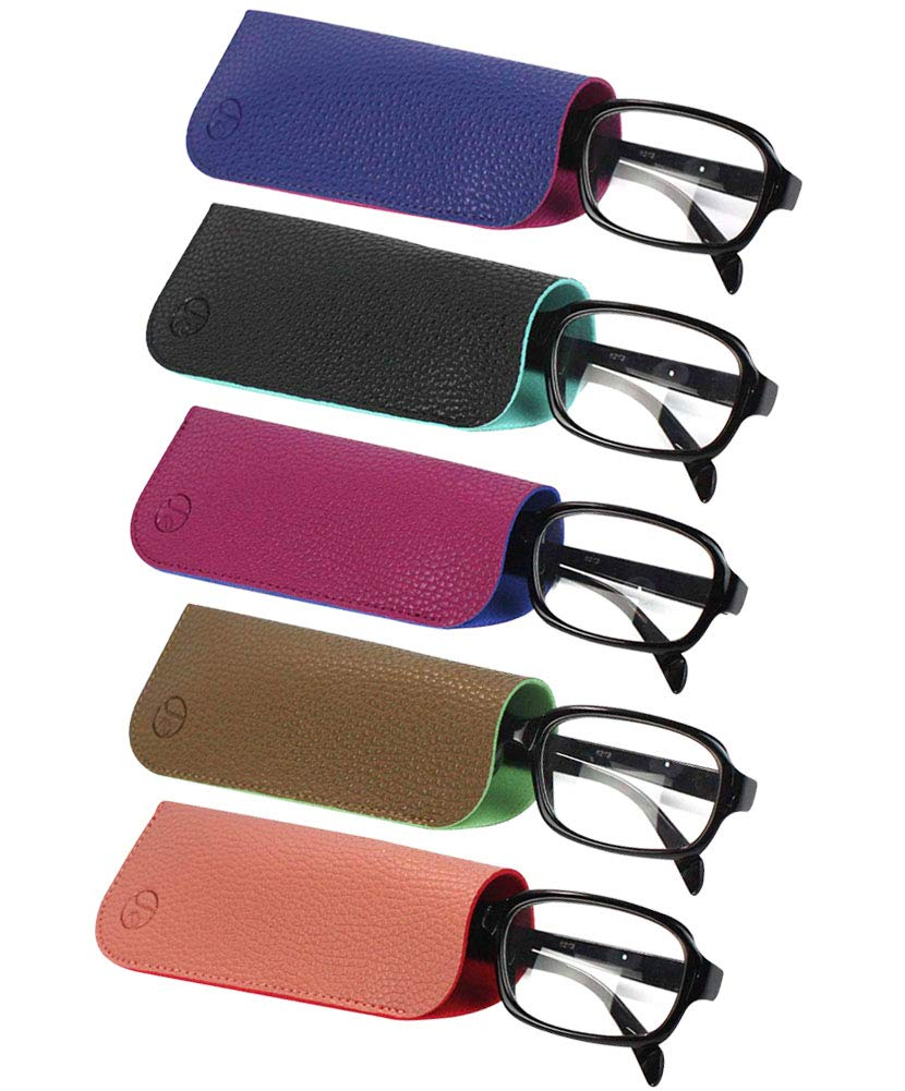 JAVOedge (5 PACK / 3 PACK) 2 Tone Style Soft Pouch Eyeglass Storage Case w/Microfiber Eyeglasses Cloth (Mix Colors Set) (Regular Pouch Size, 5 Pack - Style A) by JAVOedge