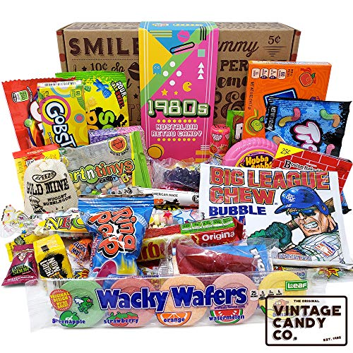 VINTAGE CANDY CO. 1980's RETRO CANDY GIFT BOX - 80s Nostalgia Candies - Flashback EIGHTIES Fun Gag Gift Basket - PERFECT '80s Candies For Adults, College Students, Men or Women, Kids, Teens -