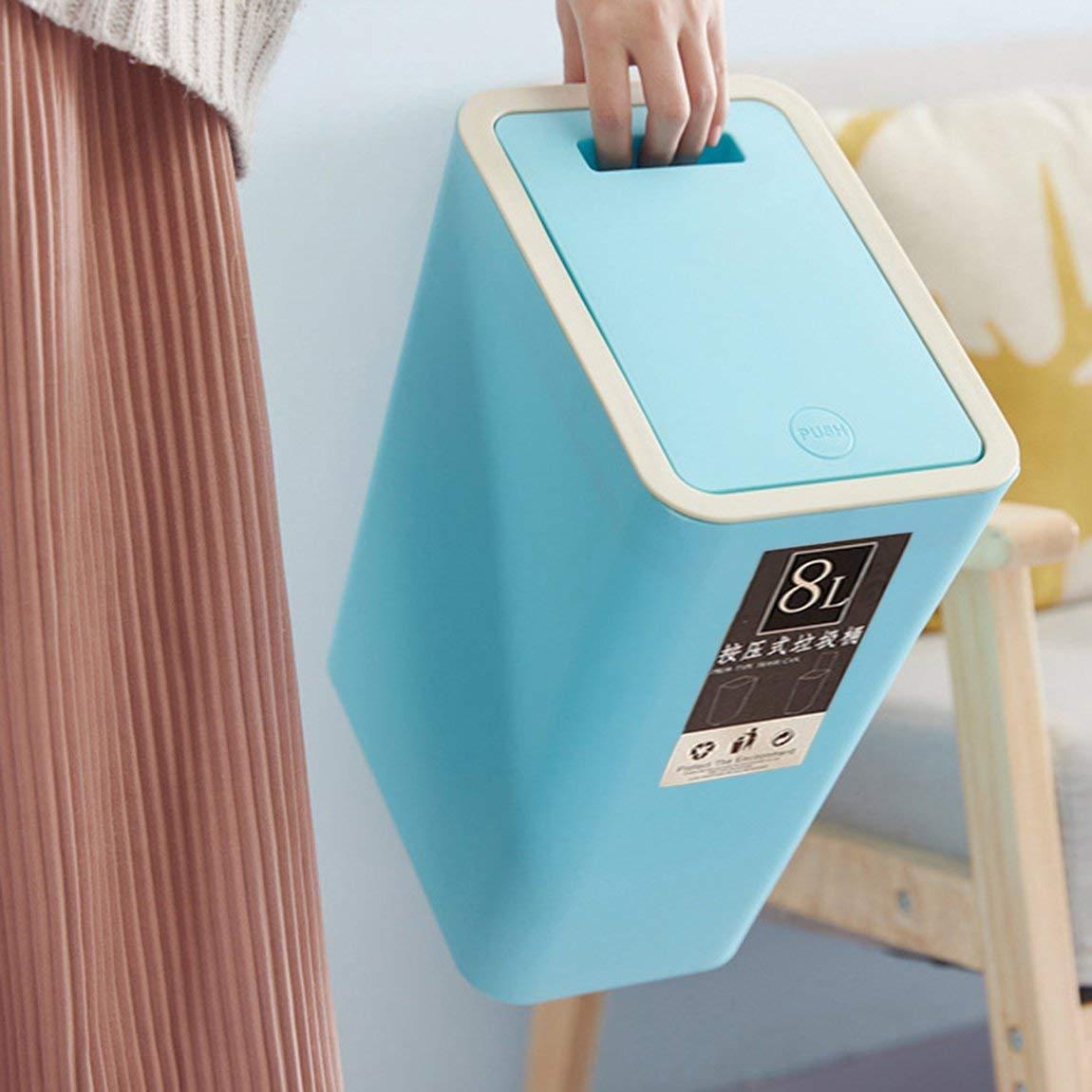Couleur: Bleu 73JohnPol Poubelle en Plastique au Design Moderne 8L pouvant appuyer sur la Couverture Design Home Cuisine Bureau Poubelle Salon Toilette Poubelle Corbeille /à Papier