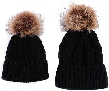 Mommy and Me Knit Hat Faux Fur Pom Pom  Fall Beanie Boho Beanie Hat