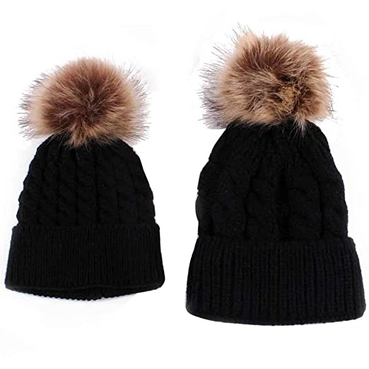 Amiley Mom and Baby Knitted Crochet Fur Pom Pom Hat Braided Warm Ski Beanie  Cap ( e204efca885