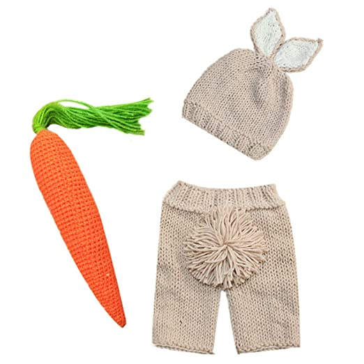 f3ce718fa Amazon.com: Newborn Photography Props Baby Boy Girl Happy Easter Bunny Outfits  Handmade Carrot Crochet Knitted Wrap-Baby 1st Birthday Cake Smash Photo  Shoot ...