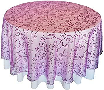 Wedding Linens Inc. 90u0026quot; Round Embroidered Organza Sheer Table Overlays  Toppers Organza Tablecloths Table