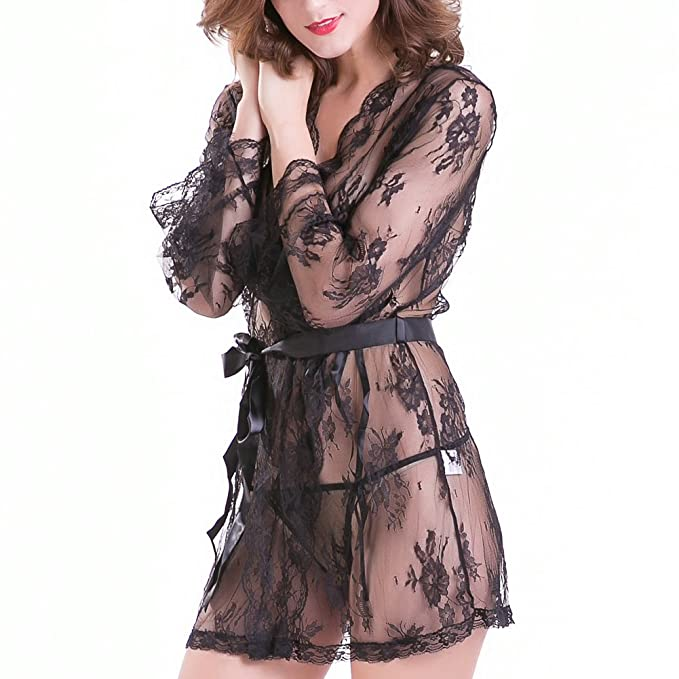 0fc1ed69c5c Image Unavailable. Image not available for. Color  Reeple Women s Lace  Kimono Robe Babydoll Lingerie Mesh Nightgown