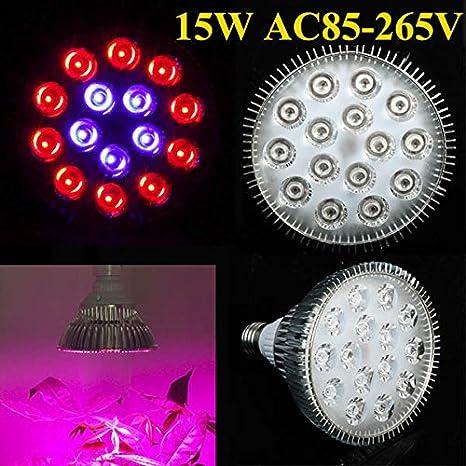 15 W E27 10 rojo planta crecer bombilla LED efecto invernadero planta de jardín 5 azul seedling crecimiento luz: Amazon.es: Iluminación