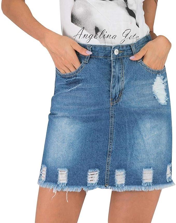 MERICAL Moda Mujer Verano Casual Denim Button Zipper Hole Denim ...