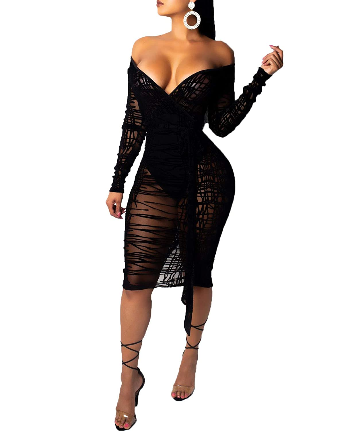 Salimdy Women's Sexy V Neck Bodycon Mesh See Through Long Sleeve Sheer Club Midi Dress Plus Size