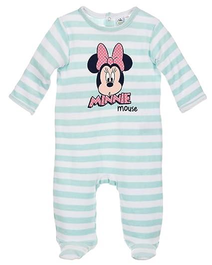 fcf028fa4f44c Pyjama velours bébé fille Minnie Rayé Rose et Vert de 3 à 23mois (12 mois