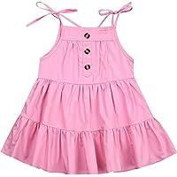 Toddler Baby Girl Solid Button Halter Strap Sleeveless Dress Sling Backless Dresses Casual Summer Boho Beach Sundress