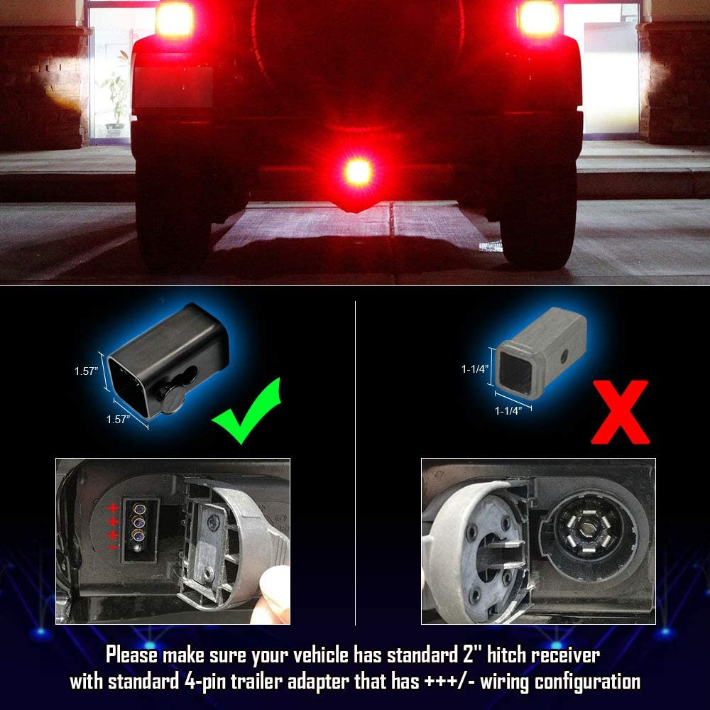 Trailer Lights LY039-1 OPP ULITE LED Brake Tail Light 15 LEDs Red Lens Trailer Hitch Cover Fit 2 Receiver Truck SUV