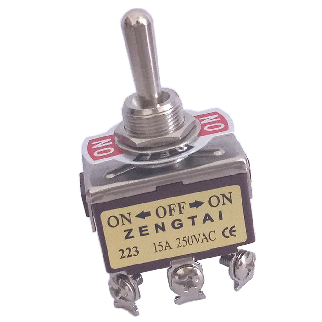 IPOTCH Toggle Switch, AC 250V 15 Amp, 6 Pin Momentary 3PDT On/Off/On 3 Position Mini
