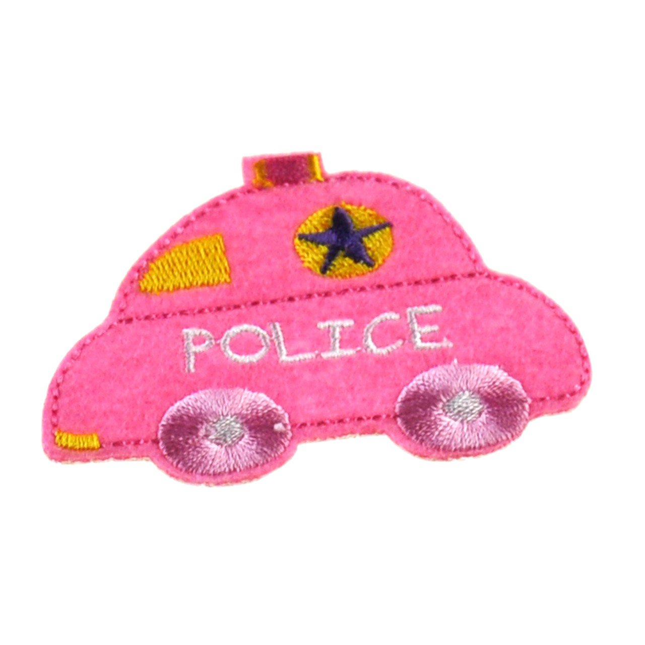YazyCraft Police Car Iron On Applique Patch For Kids And Baby/Kidults (Dark Pink)