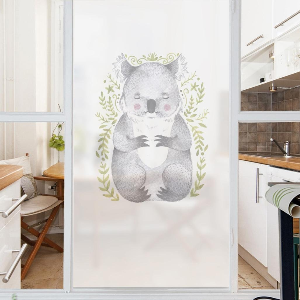 vmree Privacy Window Film, PVC Frosted Glass Sticker Matte No Glue Static Cling Sheets Translucent Decal Home Decor (Koala, 45×58cm/17.7''×22.8'')