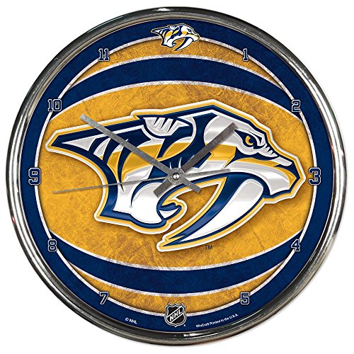 Nashville Predators NHL 12 Inch Round Chrome Plated Wall Clock
