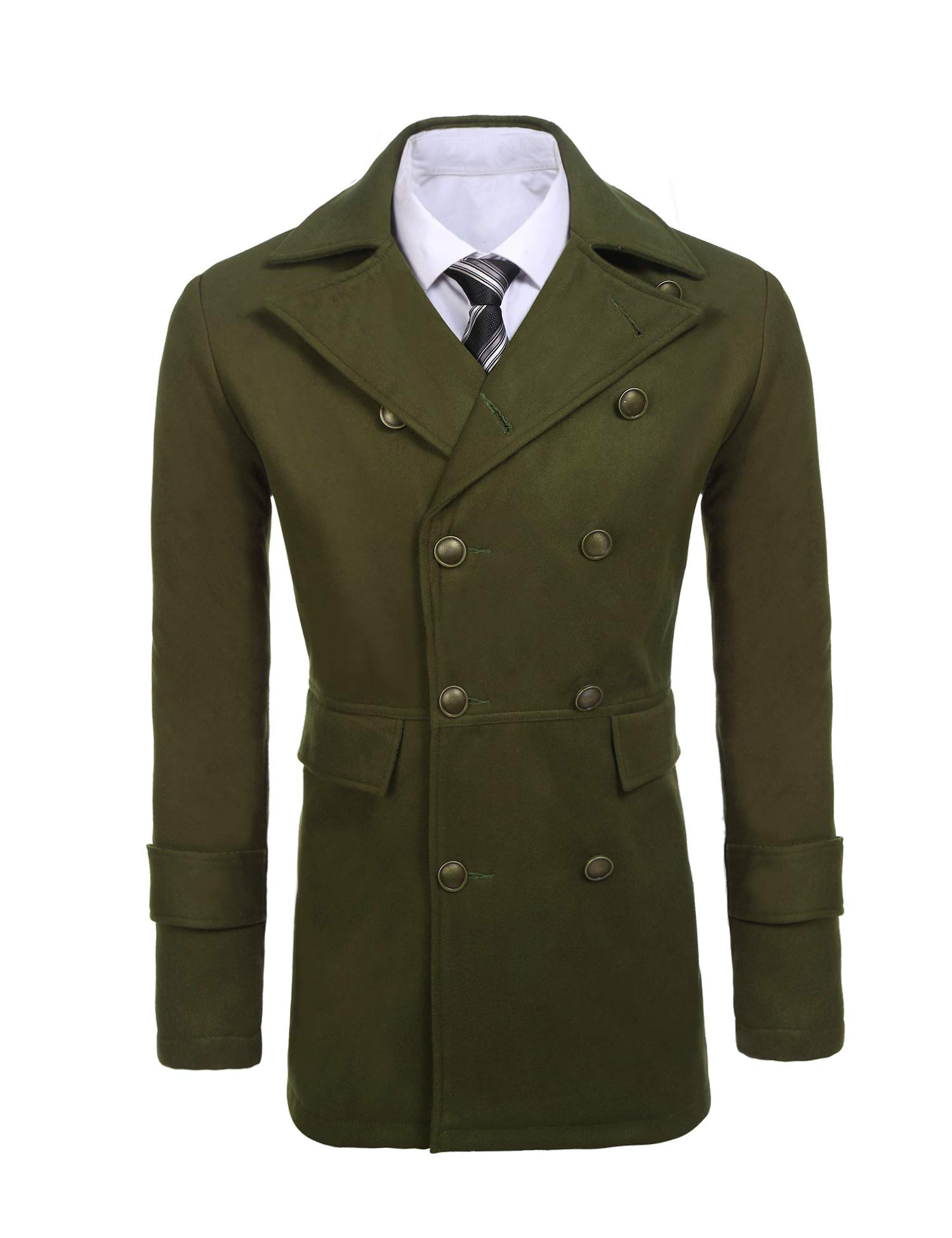 COOFANDY Mens Woolen Overcoat Double Breasted Long Length Notched Collar Trench Pea Coat Army Green by COOFANDY
