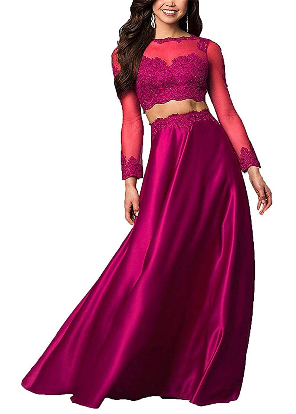 Fuchsia Sulidi Womens Lace Long Sleeves Two Piece Prom Dresses Long 2019 Formal Evening Gowns C240