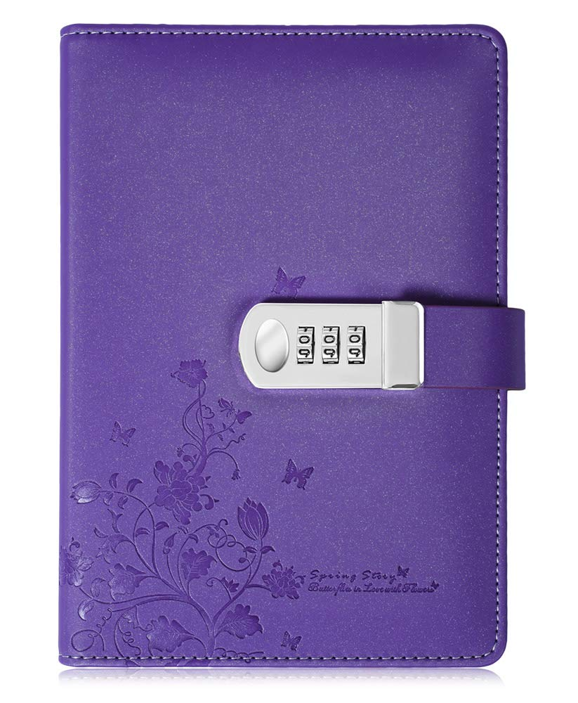 PU Leather Diary with Lock, A5 Size Journal with Combination Lock Creative Password Notebook Locking Personal Diary (Purple)